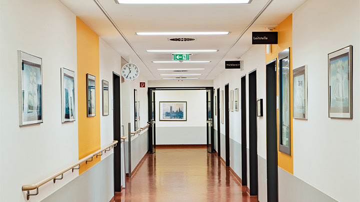 Corridors of Asklepios Clinic Barmbek lit by Philips Lighting
