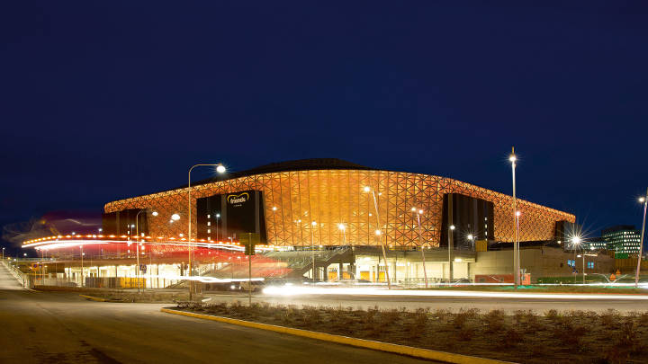 The impression exterior of Friends Arena at Sweden, illuminated by Philips lighting