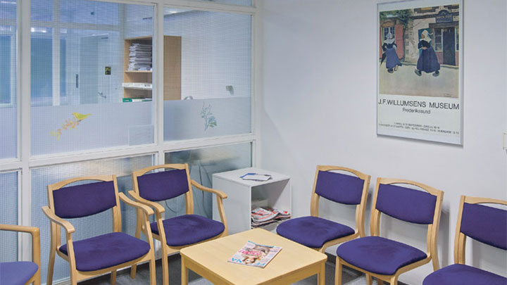 This waiting room at Holbaek Hospital, Denmark, is lit by Philips healthcare recessed lighting