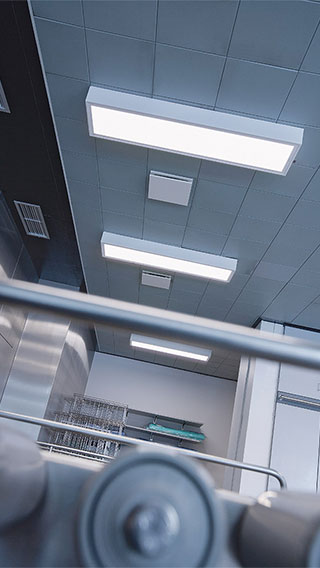 Recessed lighting, provided by Philips healthcare lighting, is utilized at Holbaek Hospital, Denmark