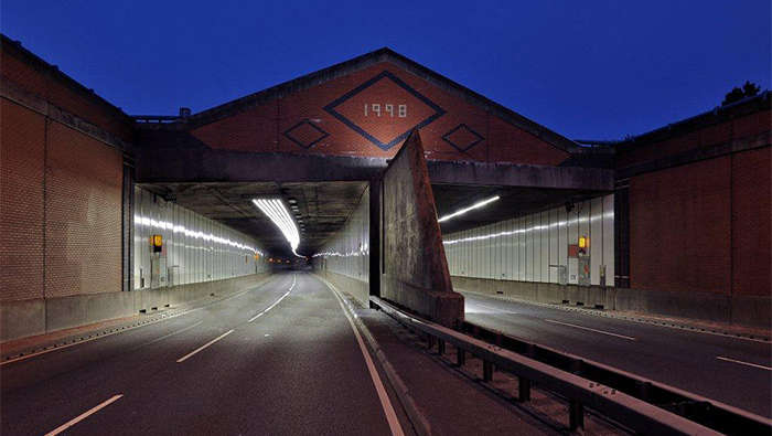 The Meir tunnel illuminated with Philips led lighting