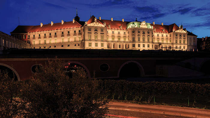 Exterior of Royal palace at Warsaw, Poland nicely lit by Philips lighting