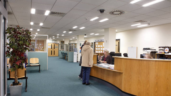 Reception of Sedgemoor District Council lit by energy-saving LED lights by Philips Lighting
