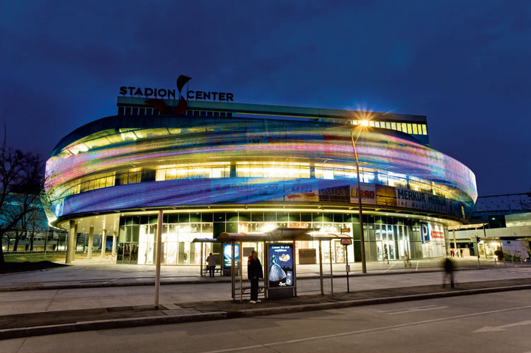 The innovative video façade of Stadion Center at Vienna, Austria