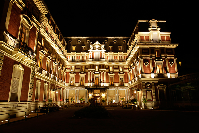 The front side of Hôtel du Palais nicely lit by Philips Lighting and Axente