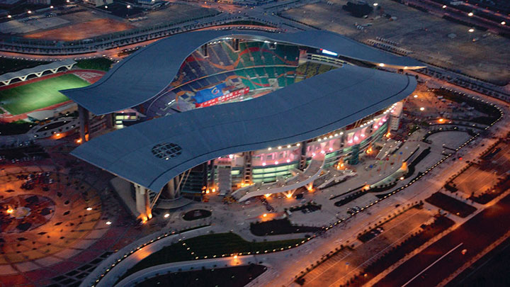 The Guangzhou Olympic stadium lit with Philips lighting products - lighting solutions for outside of arena