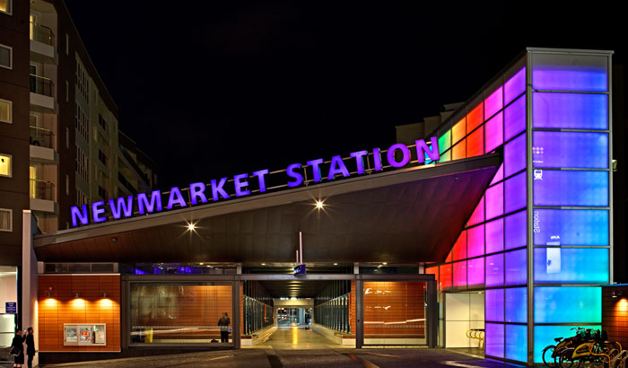 Lighting the New Market station, Auckland, New Zealand